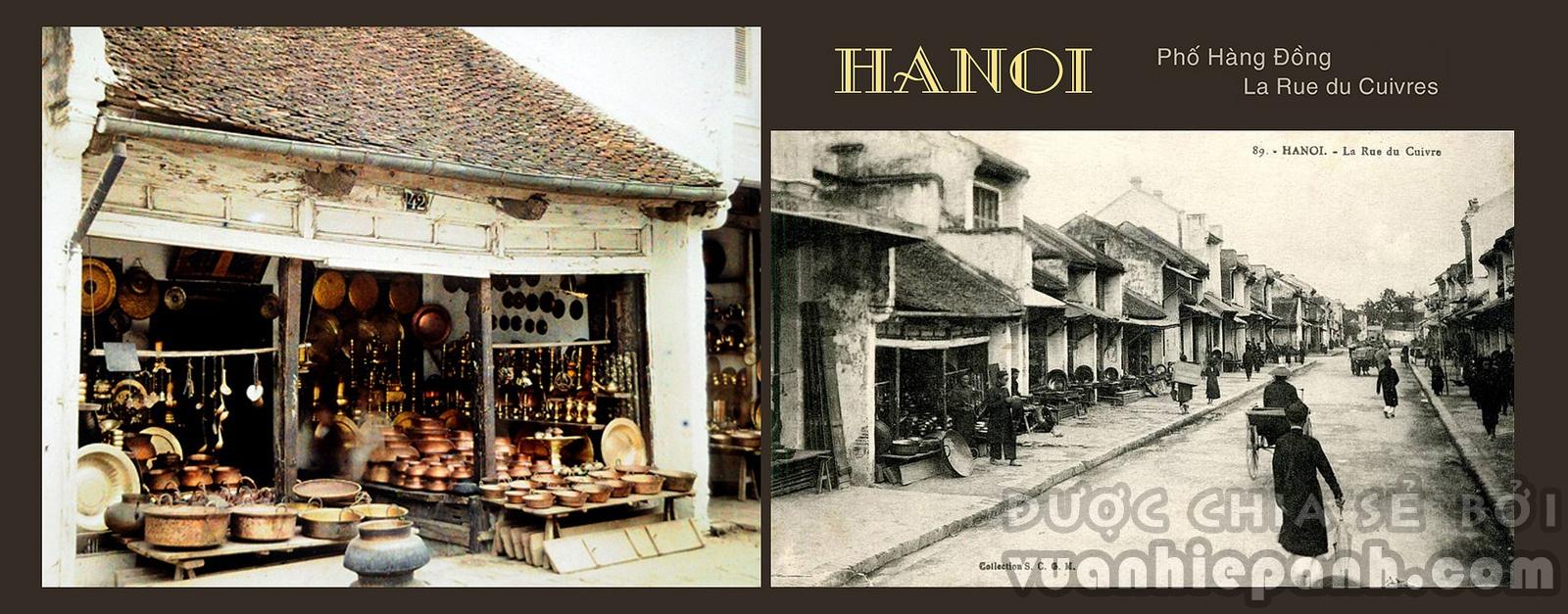 La Rue du Cuivres. Phố Hàng Đồng, Hà Nội, 1915.
